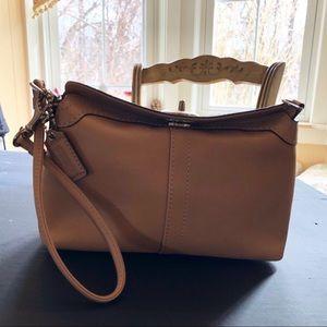 Small coach wristlet clutch Leather Like New camel